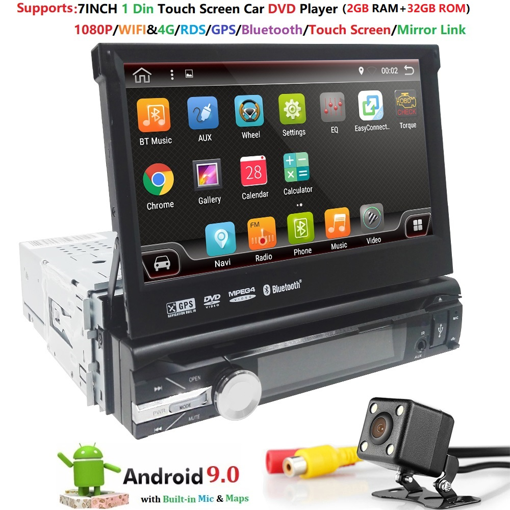 <font><b>1din</b></font> Car Radio 7 inch Touch mirrorlink <font><b>Android</b></font> 9 Player subwoofer MP5 Player <font><b>Autoradio</b></font> Bluetooth Rear View Camera tape recorder image