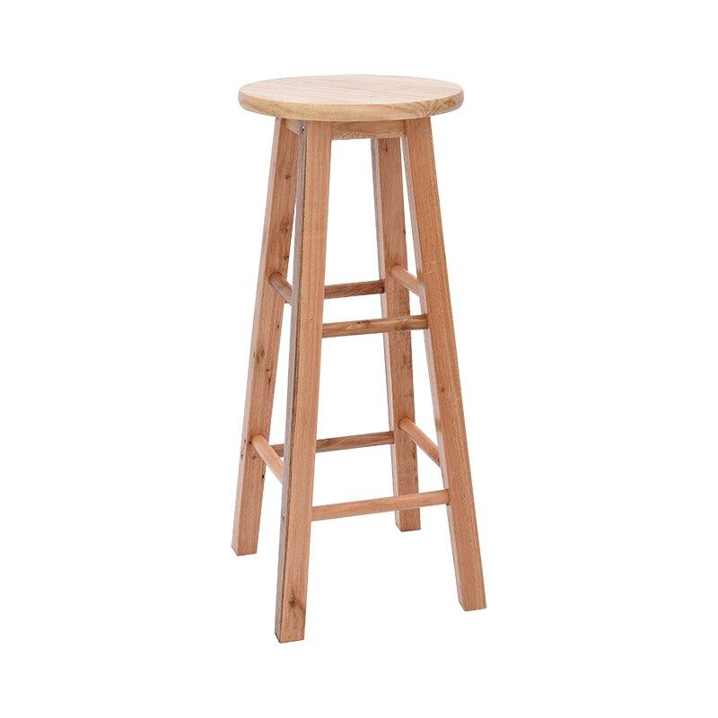 Solid Wood Bar Stool Bar High Chair Home Dining Round Stool Wood Color Ladder Stool Bar Stool Retro Front Bar Chair