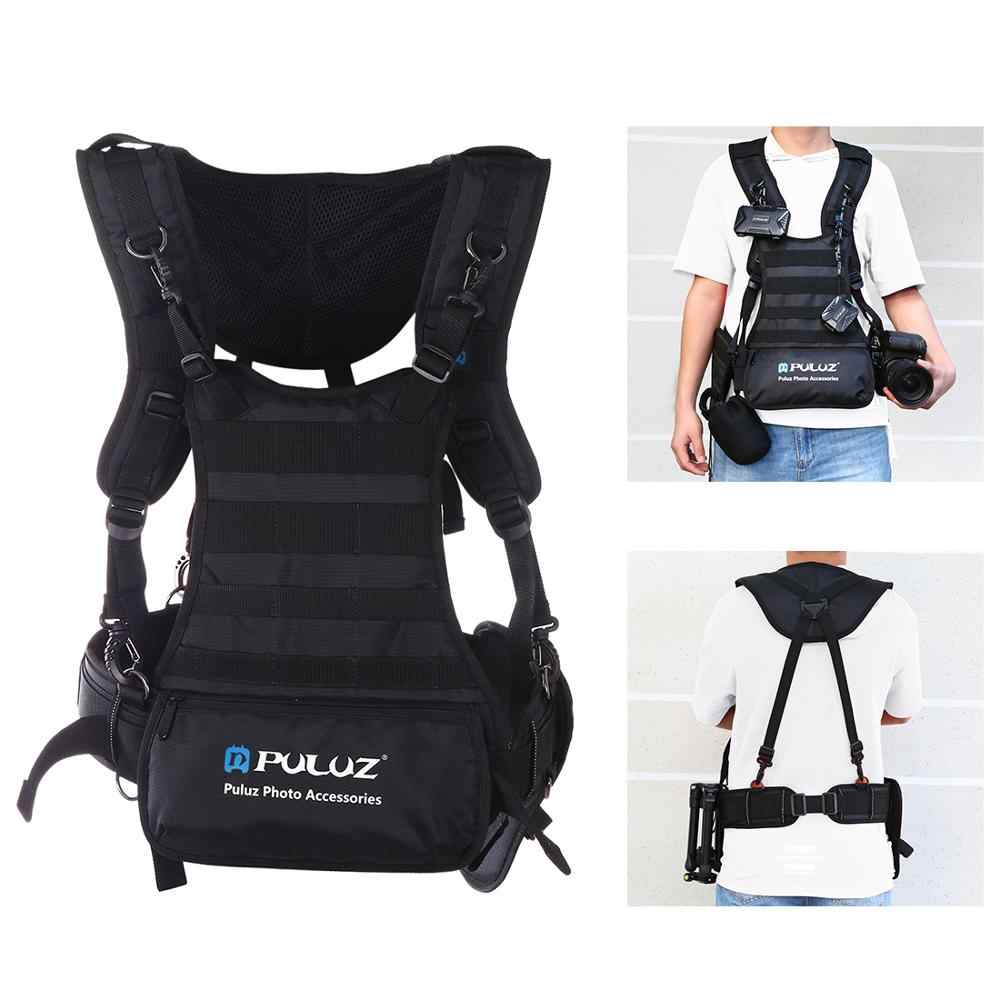PULUZ Double Shoulders Padded Strap Camera Carrying Chest Harness System Vest Quick Strap & Side Holster Waist Belt for SLR/DSLR