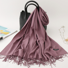 Winter Scarf Shawls Bandana Hijabs Cashmere-Scarves Pashmina Neck-Head Women Warm Thick