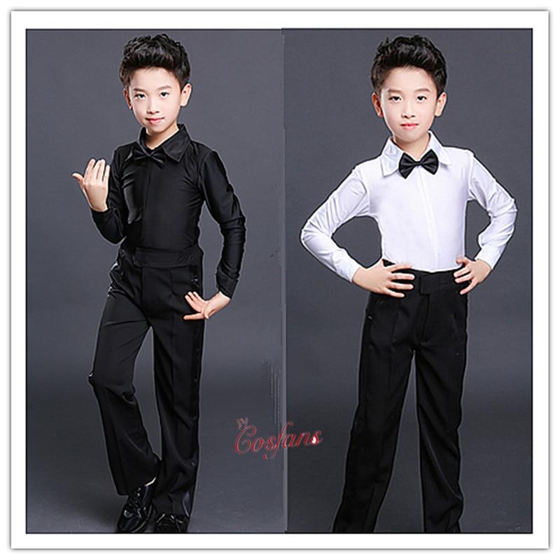 Latin Dance Pants Mens For Kids White Black Latin Dance Shirts Men Latin Dance Clothes Men Boy Latin Dance Top And Shirt Set