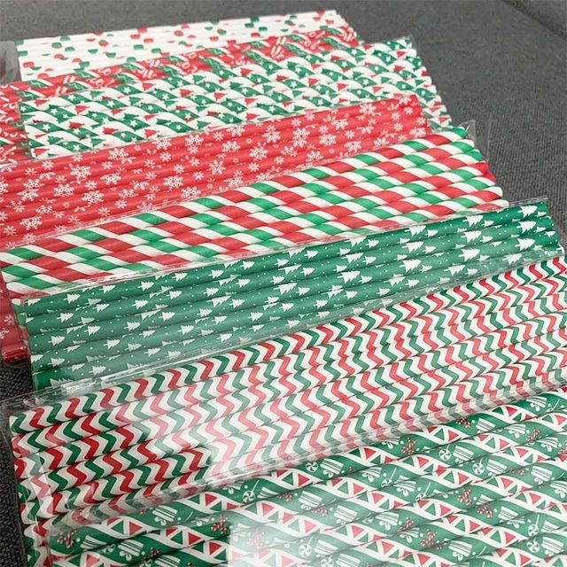 25pcs Paper Drinking Straws Snowflake Paper Straw Merry Christmas Decoration For Home Happy New Year Xmas Party Tableware 2020 17
