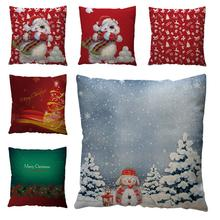 DishyKooker Christams Pillow Case Chshion Cover Snowman Small Bell Christams Tree Pattern Pillow Case Christams Decoration