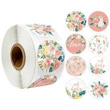 500 шт/рулон наклейки с розовыми цветами уплотнительные этикетки