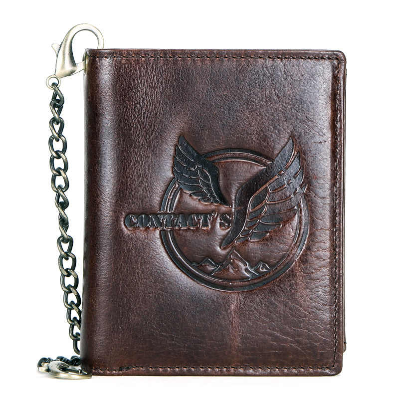 European and American Leather Men's Wallets Multi-function Iron Chain Vertical Wallet Creative Men's Cow Leather Short Wallet