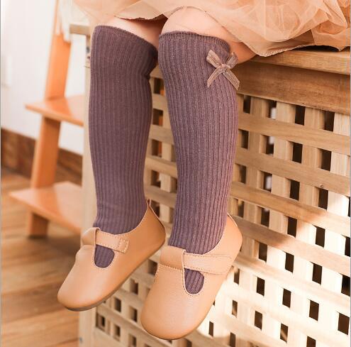 1-8Y 2021 New children's socks double needle bowknot girls socks boneless loose mouth combed cotton baby tube socks 5