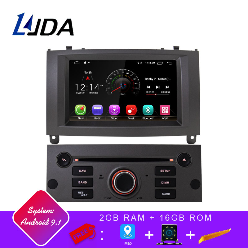 LJDA 1 Din Android 9.1 Car Radio For Peugeot 407 2004-2010 Car Multimedia Player Stereo Auto Audio GPS Navigation DVD Video IPS image