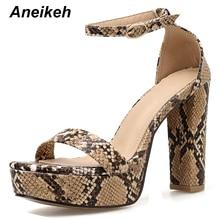 Aneikeh Fashion Summer snake pattern Platforms Gladiator Sandals