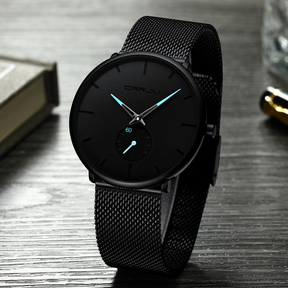 H2eadec604f214abfa9158b746d04fc9a9 CRRJU Ultra Thin Blue Stainless steel Quartz Watches Men Simple Fashion Business Japan Wristwatch Clock Male Relogio Masculino