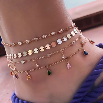 4 Pcs/Set Boho Gold Colorful Crystal Wafer MultiLayer Anklets for Women Chains Adjustable Anklets Set Foot Jewelry Accessories