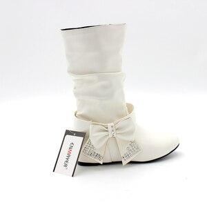 Image 5 - ENMAYER جديد المرأة الربيع والخريف بووتي Charms الشقق أحذية أحذية امرأة منتصف العجل 4 ألوان حذاء أبيض الأحذية حجم كبير 34 47