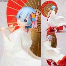 Nouveau Anime Re: la vie dans un monde différent de zéro Rem Ram blanc Kimono mariée avec parapluie Ver. 1/7 jouets de modèle de figurine en PVC