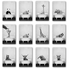 Abstract Animal Bathtub Bathing Poster Elephant Giraffe Nordic Wall Art Print Picture Canvas Painting Living Room Decoration