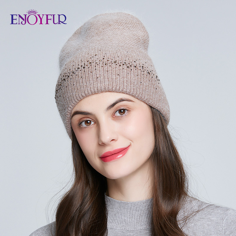 ENJOYFUR Women's Winter Hats Soft Warm Angora Rabbit Fur Hair Knitted Caps Fashion Wide Cuff Rhinestones Decoration Beanies