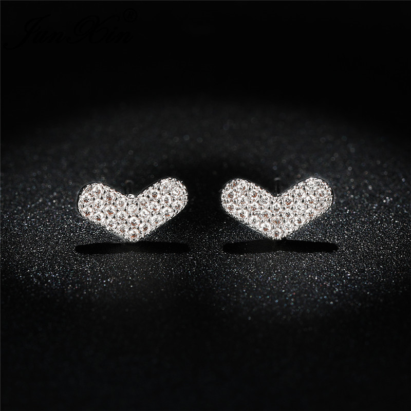 Dainty Small Heart Stud Earrings For Women Rose Gold Tiny Crystal Love Engagement Wedding Ear Studs Valentine Day Jewelry