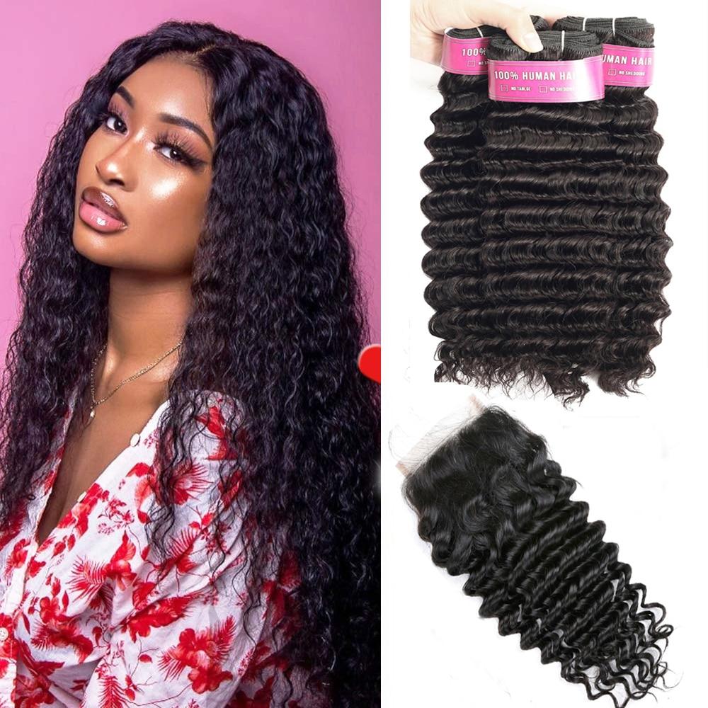 Beau Hair Deep Wave Human Hair Bundles With Closure 4 Pcs/lot Brazilian Hair Weave Bundles With Closure Non Remy Hair Extension