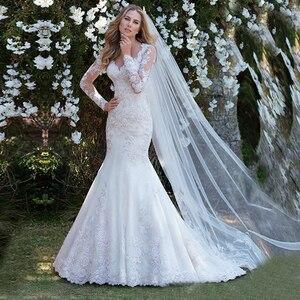 Image 5 - Vestido de noiva de mangas compridas, transparente, de casamento, apliques de renda, robe de casamento 2020