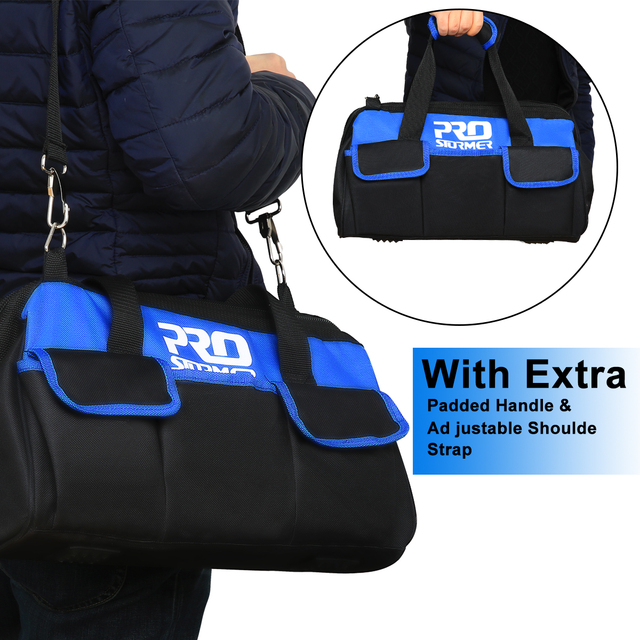 Waterproof Tool Bag with Bag Shoulder Strap Belt 18in  Electrician Portable Working Tools Storage Bags By PROSTORMER 2