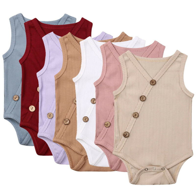 0-24M Toddler Baby Bodysuit Boy Girl Summer Clothes Solid Cross-body Button Decoration Multi-color Jumpsuit Outfits Casual