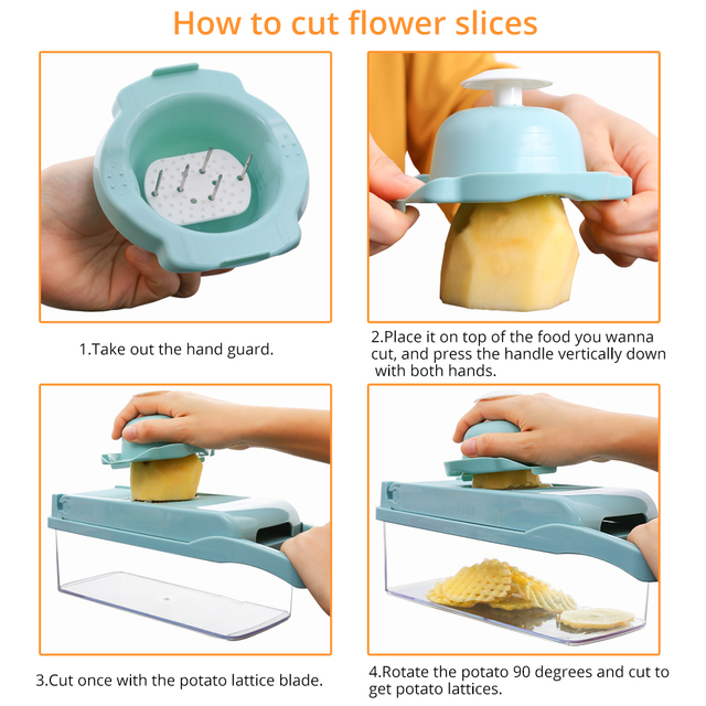 DEKO Vegetable Mandoline Cutter Fruit Slicer Multifunctional Potato Peeler Carrot Grater Kitchen Accessories with Drain Basket 4
