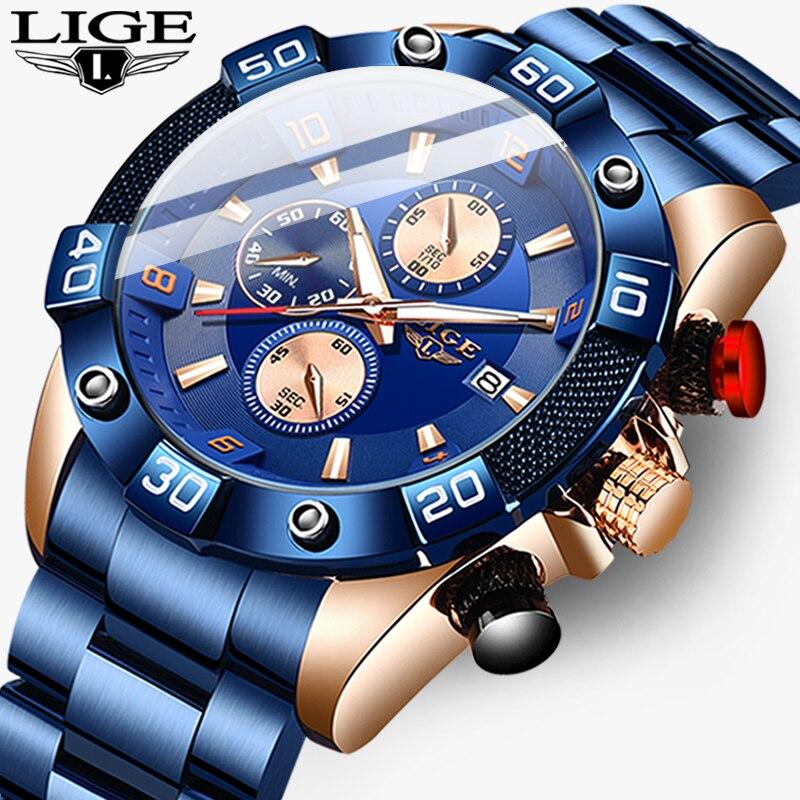 2020 New Watch Men LIGE All Steel Waterproof Quartz Clock Male Military Sport Chronograph Men's Fashion Brand Top Wristwatch+Box