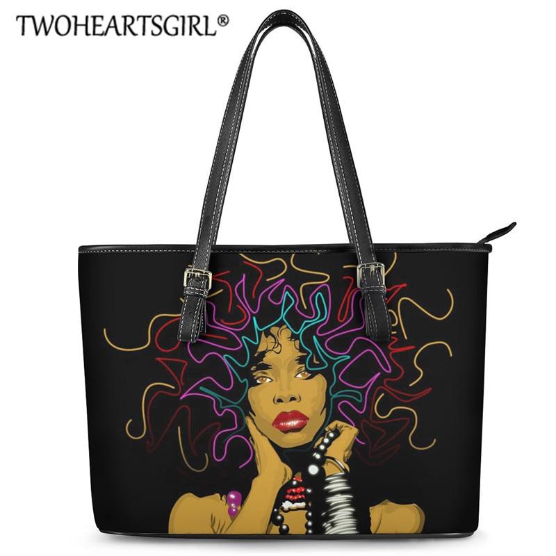 Twoheartsgirl BlackGirlMagic Handbags Luxury Leather Tote Bags African American Girl Travel Shoulder Bags for Female