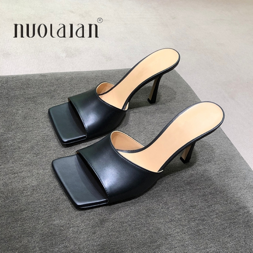 2020 New Summer Women Sandals Square Toe Ladies Heel Mules Sexy Thin High Heels Sandals Slippers Female Fashion Woman Shoes