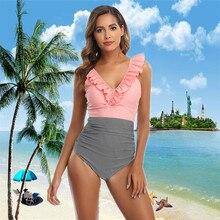 2020 Sexy One Piece Swimsuit Ruffle Swimwear Women Monokini Bodysuit Push Up Swim Suit Bathing Suit Summer Beach Wear