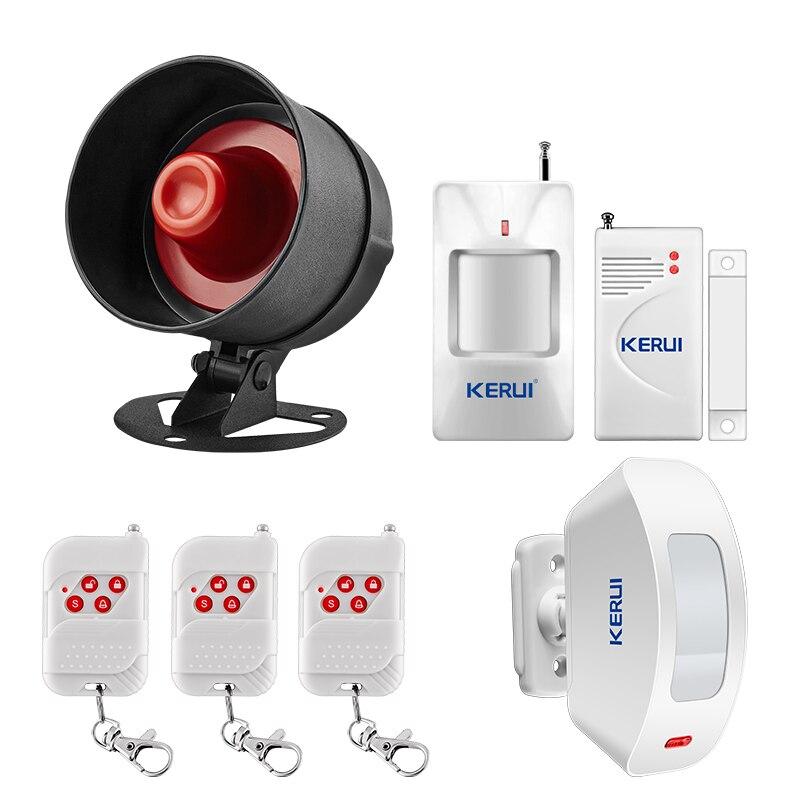 Güvenlik ve Koruma'ten Alarm Sistemi Kitleri'de KERUI ev güvenlik Alarm kablosuz bağlantı 100dB kablosuz yerel Alarm güvenlik sistemleri Siren hoparlör hırsız kızılötesi Alarm title=