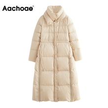 Warm Coat Padded-Jacket Parkas Aachoae Solid-Color Winter Female Thick Long Elastic-Waist
