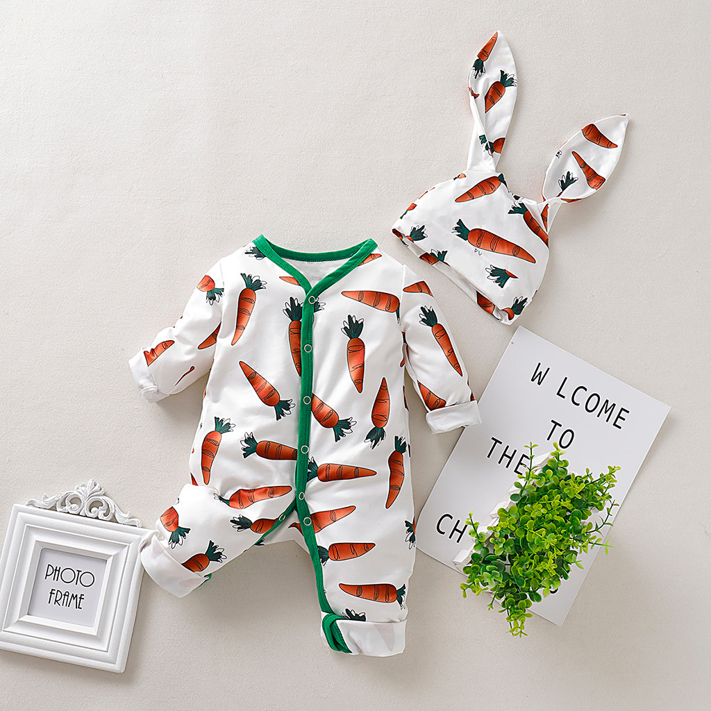 LOOZYKIT Newborn Infant Baby Boys&Girls Clothes Long Sleeve Cartoon Carrot Print Romper Jumpsuit+Rrabbit Ears Hat Outfits Set
