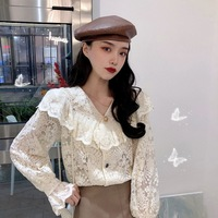 Ruffled Collar Lace Immortal Industrial Korean style Lace Blouse Tops Autumn And Winter Retro Long Sleeve Loose Fit Underwear Sh