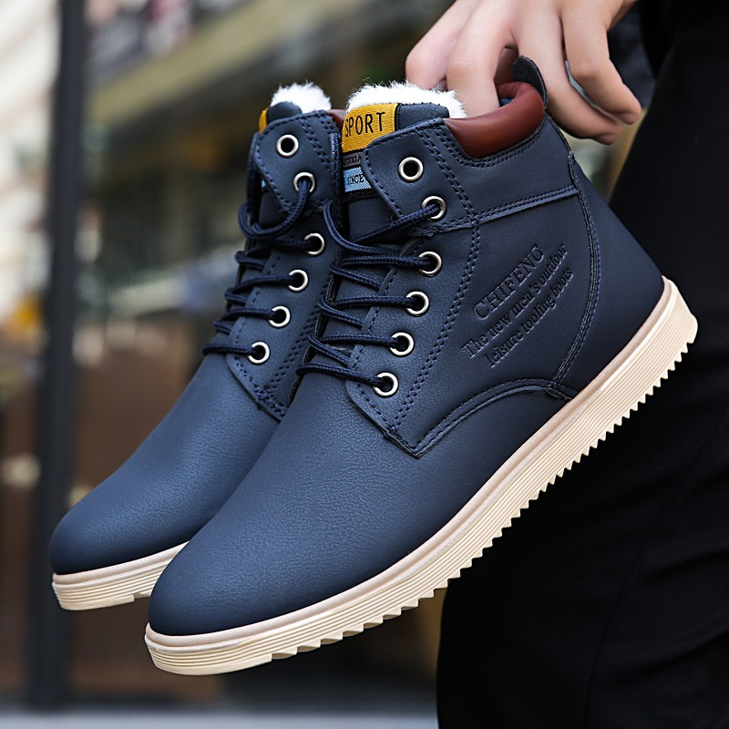 Coslony boots for men leather fashion high ankle boots snow boots winter Lace-up men shoes fashion flock plush winter boots men