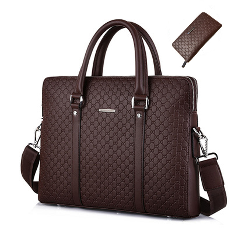 Business Bag Briefcase Men Double Layers Embossing Letters Microfiber Synthetic Leather Casual Shoulder Handbag Laptop Bags