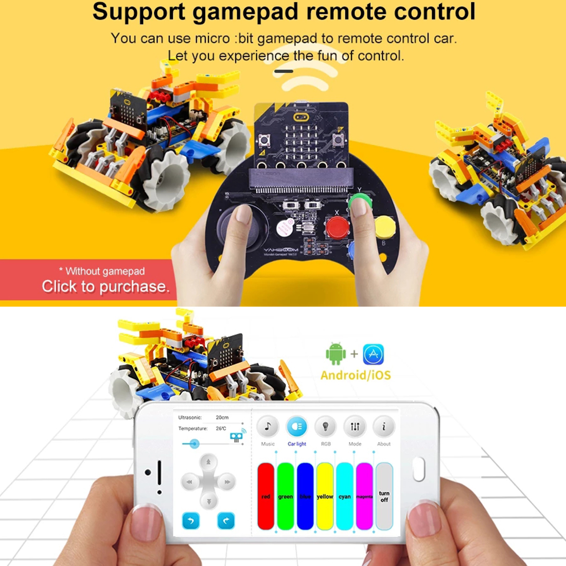 High Recommend Program Intelligent Robot Building Block Kit Mecanum Wheel Robot Car With Micro:Bit Board For Micro: Bit