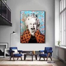 Reino unido rainha britânica poster de luxo bonito popart lona poster decoração cuadros quadros parede lona cartazes para sala estar decoração
