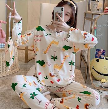 2020 WAVMIT Long Sleeve Pajamas Polyester Set Women Sleepwear 3Pcs Nightwear for Pant Cloth Bag
