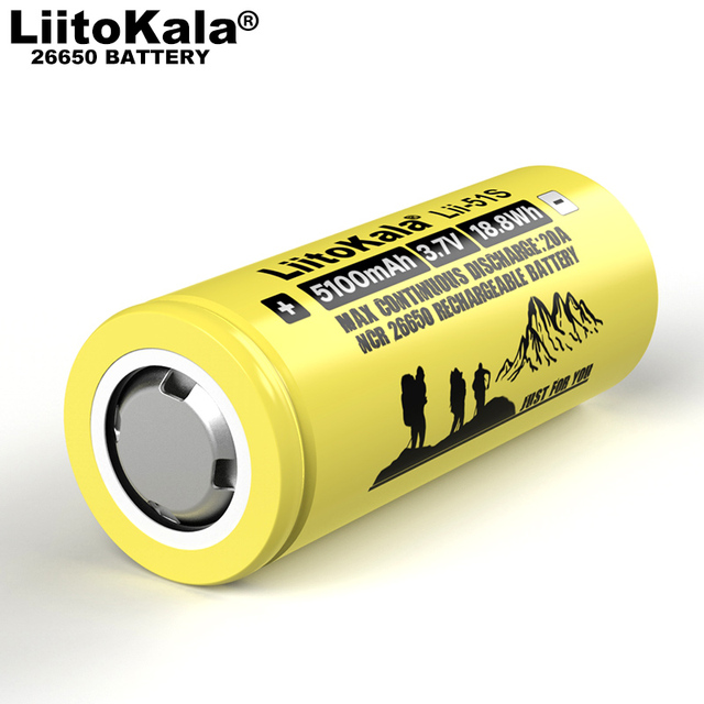 1-10PCS Liitokala LII-51S 26650 20A power rechargeable lithium battery 26650A 3.7V 5100mA Suitable for flashlight 4