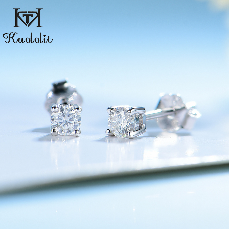 Kuololit 100% moissanite Gemstone 585 Rose Gold Stud Earrings for Women Solid 925 Sterling Silver Solitaire Party Fine Jewelry