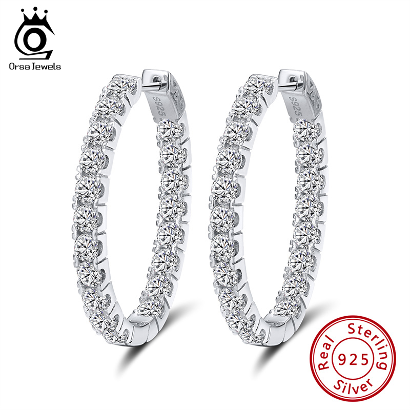 ORSA JEWELS Pure Sterling Silver Women Hoop Earrings S925 Full Zircon 35 MM Circle Earrings Trendy Delicate Fine Jewelry SE223