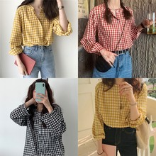 Fashion Women Plaid Tops and Blouses Long Sleeve Sweet Shirts Ladies