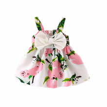 1-3 Years Baby Kids Dresses for Girls Pear Printing Big Bow Tie Sling Princess Dress stylish floral big bow girls dress