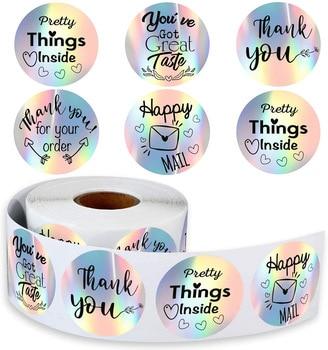 500 Uds gracias para mi pequeño negocio pegatinas de papel gracias etiqueta Arco Iris plateado rollo adhesivo de envío de correo etiquetas