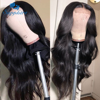 Sapphire Brazilian Remy Human Hair Wigs 4X4 Pre Plucked Brazilian Body Wave Lace Closure Wigs With Baby Hair For Black Women