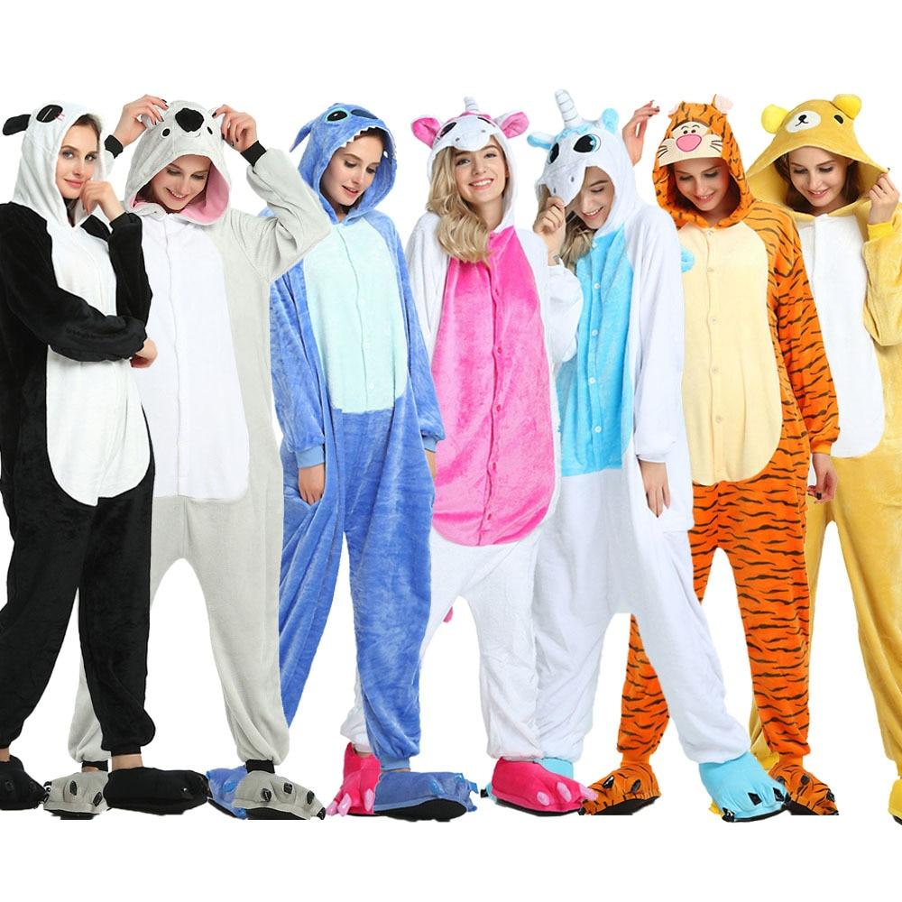 Unicorn Winter Anime Kigurumi Stitch Koala Pajamas Family Women Men Nightwear Unicornio Adult Flannel Sleepwear Homewear