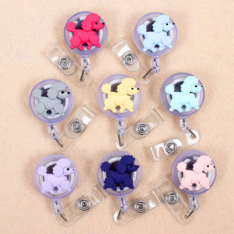 Cute Toy Poodle Teddy Dog Retractable Plastic Badge Holder Reel Student And Nurse Exhibition Enfermera Chest Girl Name Card Case