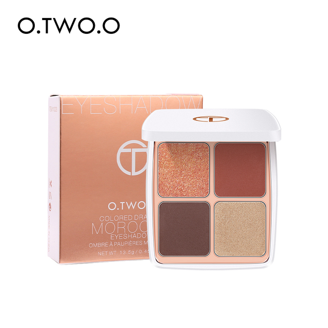 O.TWO.O Colored Drawing Morocco Eyeshadow Palette 4 Colors Matte Shimmer Glitter Effect Eye Shadow Makeup For Daily Use