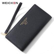 WEICHEN Wristband Wallet Women Zipper Cell Phone Pocket Coin Purse Card Holder Ladies Carteira Clutch Leather Female Portfel NEW