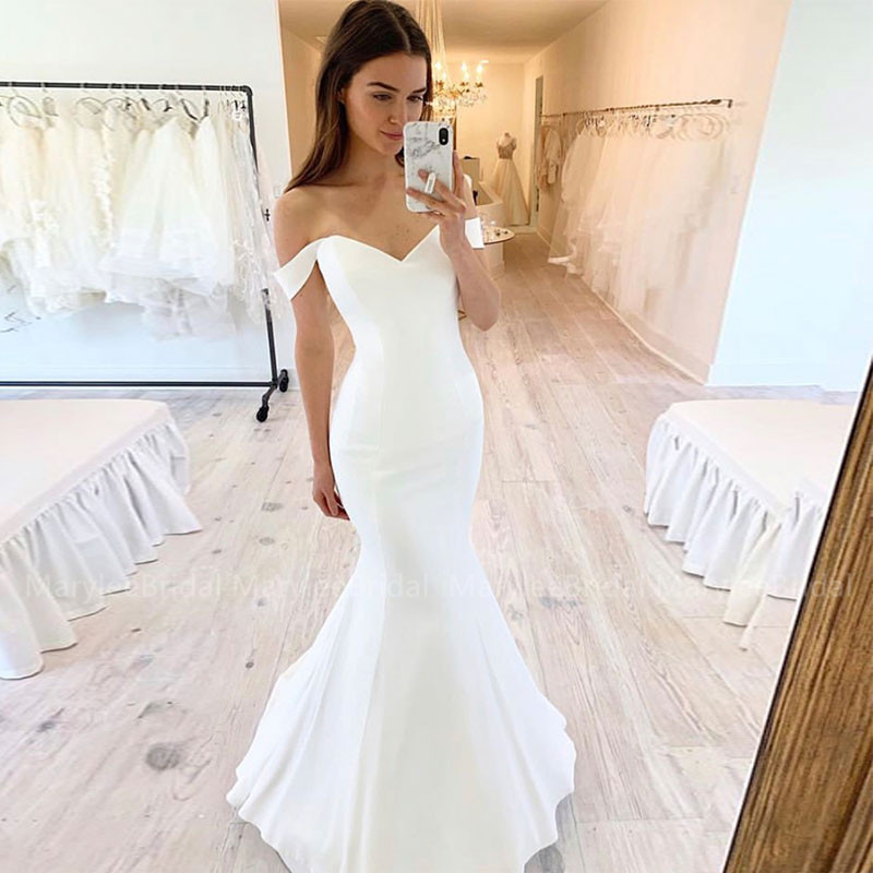 Off Shoulder Boat Neck Wedding Dresses Mermaid Style Stretch Satin White Ivory Robe Mariage Full Length Wedding Gowns