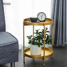 INS скандинавский двухслойный Железный Маленький журнальный столик, угловой круглый стол для гостиной, Диванный прикроватный столик, просто...